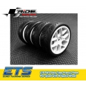 Ride 1/10 Slick Tires Precut 24mm Pre-glued with 10 Spoke Wheel White (4pcs)