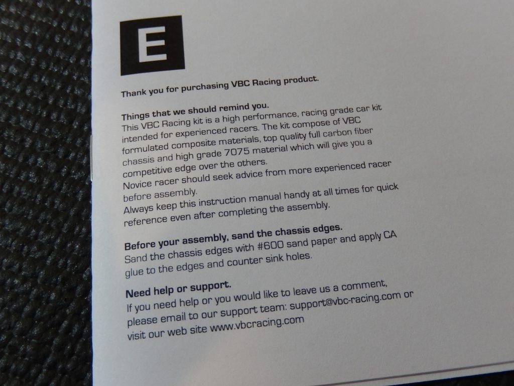 Primeras consideraciones que VBC nos indica en la portada del manual del LightningFXM